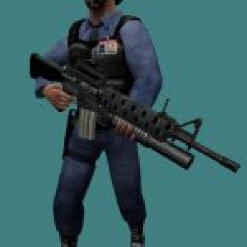 Barney with M16 (fixed Face)