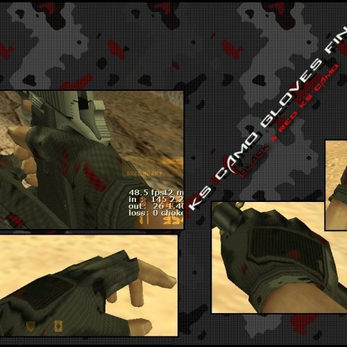 KS Black  Red Camo Gloves