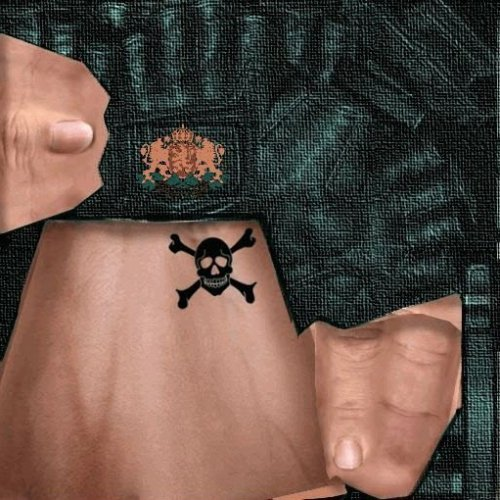 Green gloves with tattoo