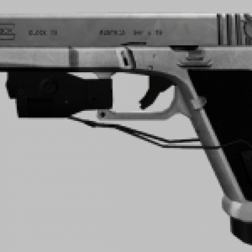White Glock 18 with green laser