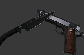 Colt 1911 with CQB MW2 Knife