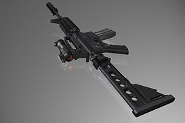 Tac M4 W Folding Stock Anims  Aimpoint